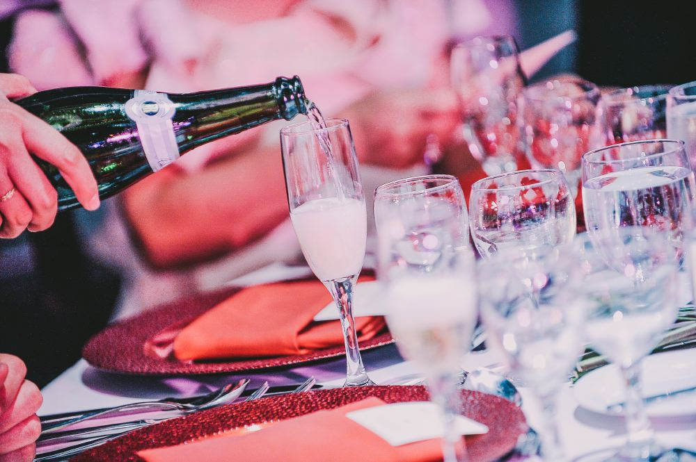 san   diego wedding photographer | champagne being poured into glass