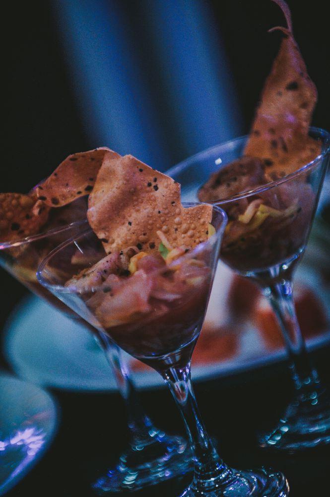 san   diego wedding photographer | martini glasses with nachos in them