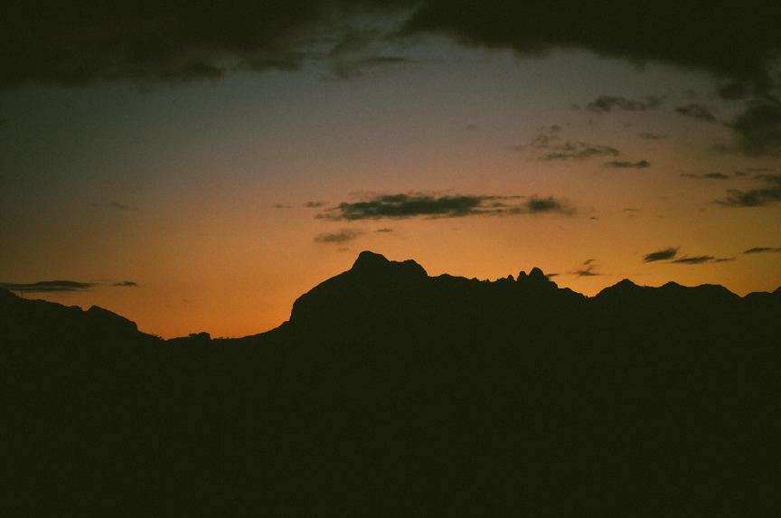 san   diego wedding photographer | silhouette of mountain with sun setting behind