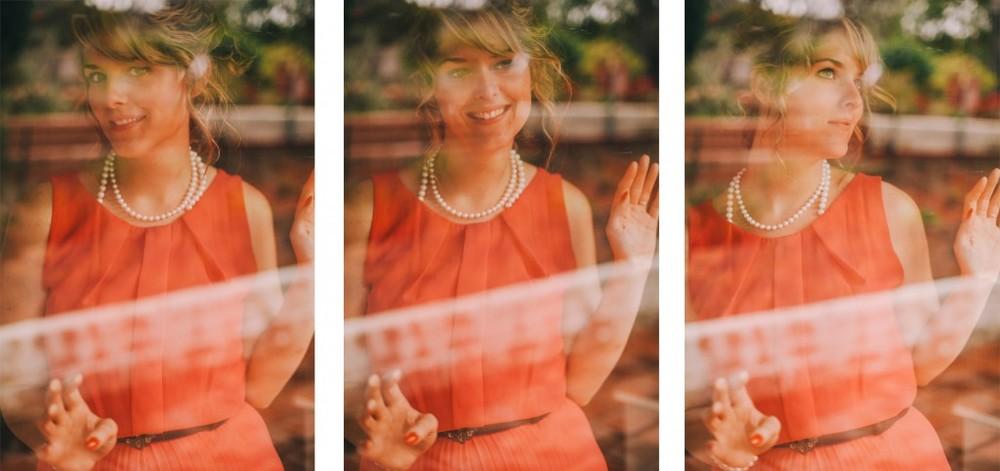 san diego wedding photographer | collage of woman in peach dress seen through behind glass window