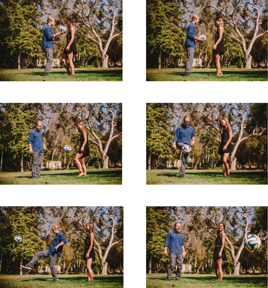 san   diego wedding photographer | collage of blonde woman and blonde man in   ponytail playing with soccer ball