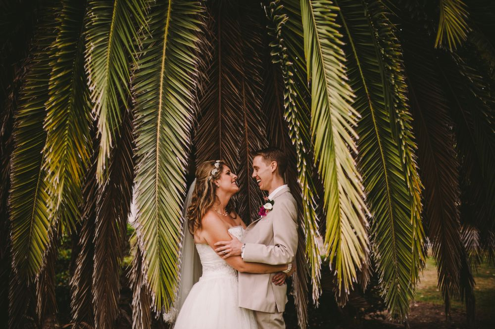 san   diego wedding photographer | bride and groom smiling at each other under palm   tree