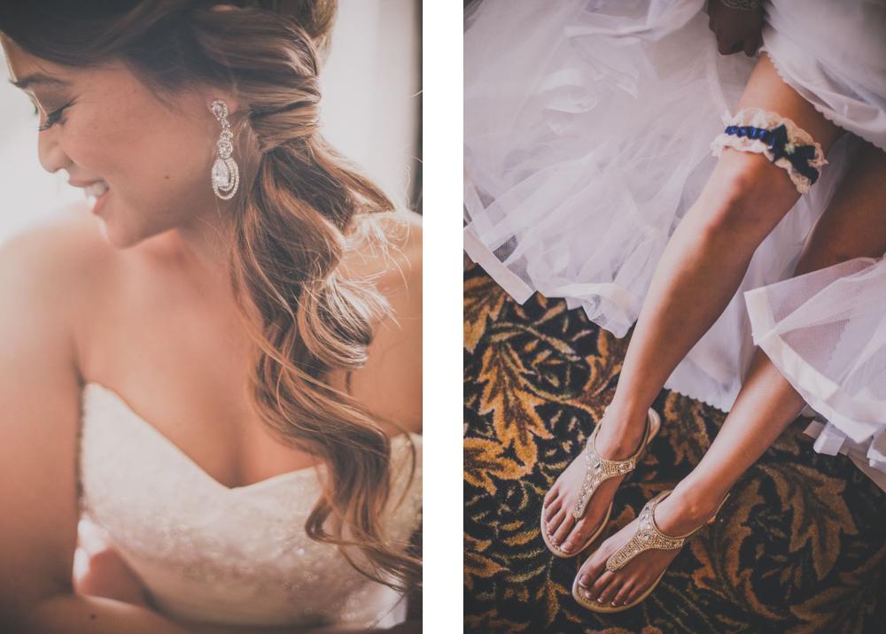 san   diego wedding photographer | photoset of bride's dangling earring, garter,   and sandals