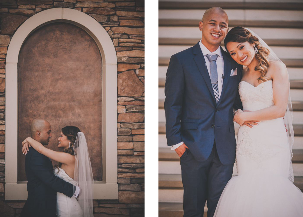 san   diego wedding photographer | photoset of bride and groom hugging against   brick background and holding arms together in front of staircase