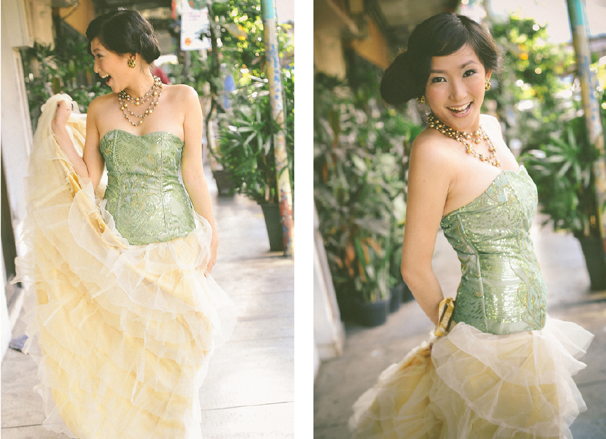 san   diego wedding photographer | collage of woman in green dress posing with   golden necklace