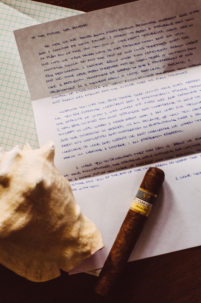 san   diego wedding photographer | shot of handwritten letter and cigar