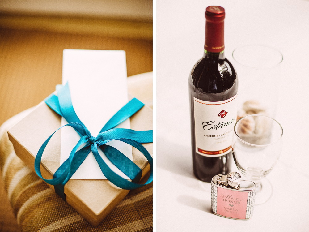 san   diego wedding photographer | collage of box with letter and wine bottle