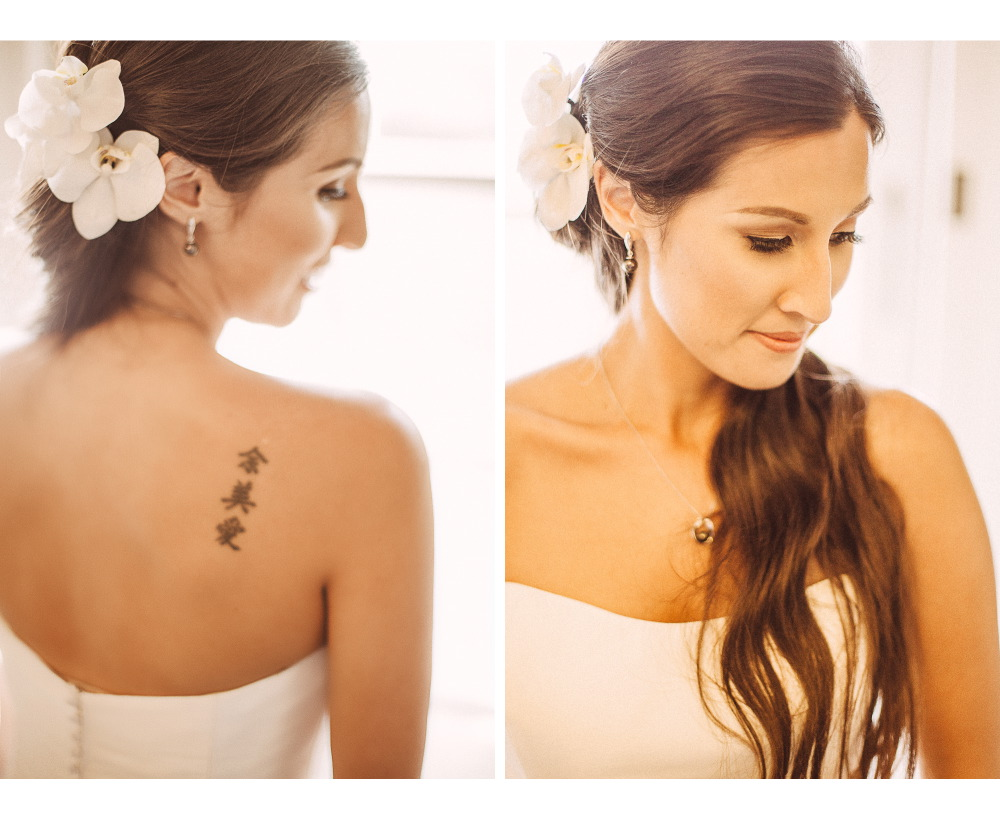 san   diego wedding photographer | collage of bride to be's back with tattoo