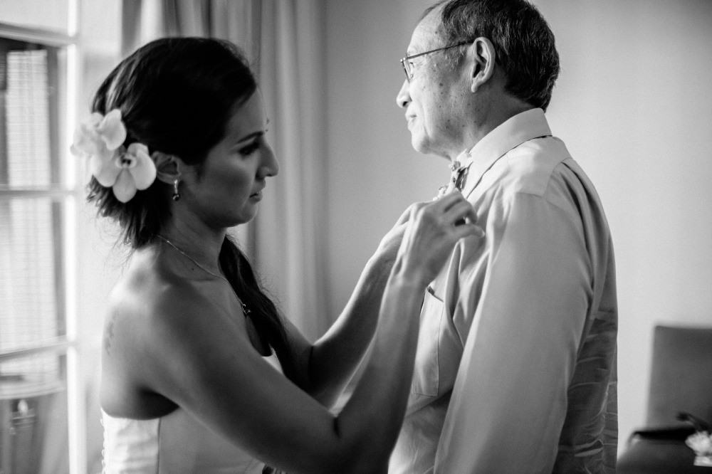 san   diego wedding photographer | monotone shot of bride fixing her father's   outfit