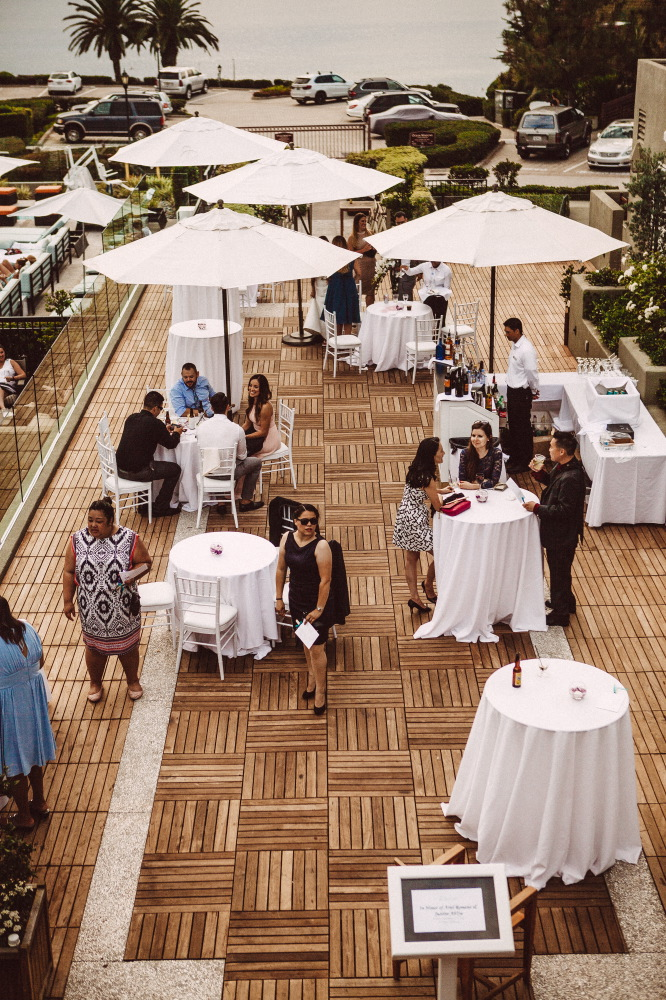 san   diego wedding photographer | high vantage point shot of wedding attendees