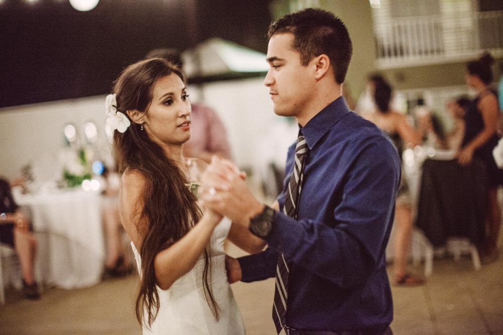 san   diego wedding photographer | man in blue shirt dancing with bride