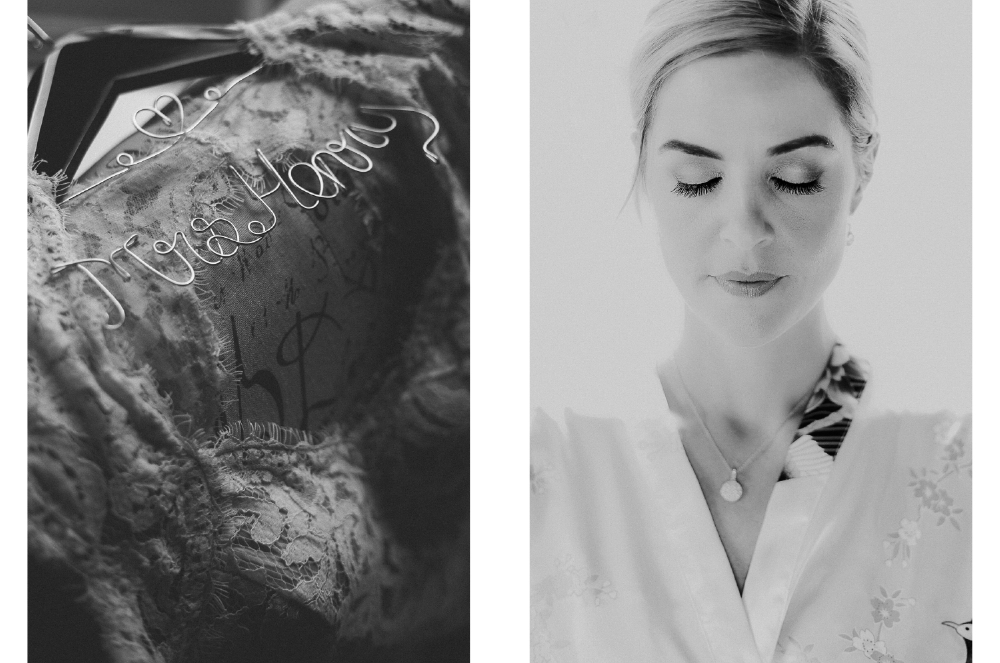 san diego wedding   photographer | monotone collage of wire spelling out a name and woman with   eyes closed