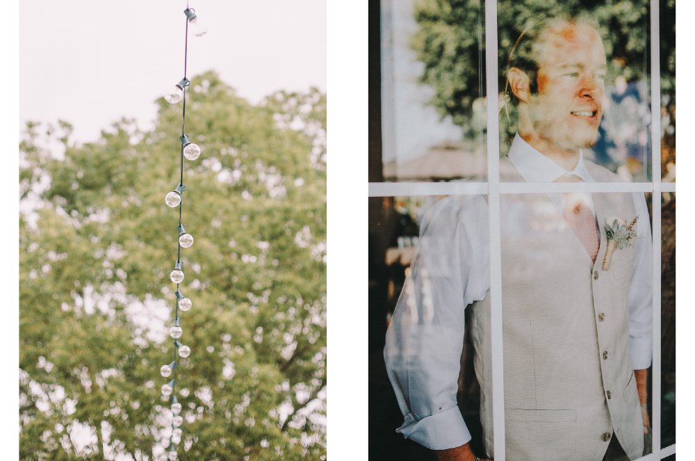 san diego wedding   photographer | collage of lights on a wire and groom seen through window