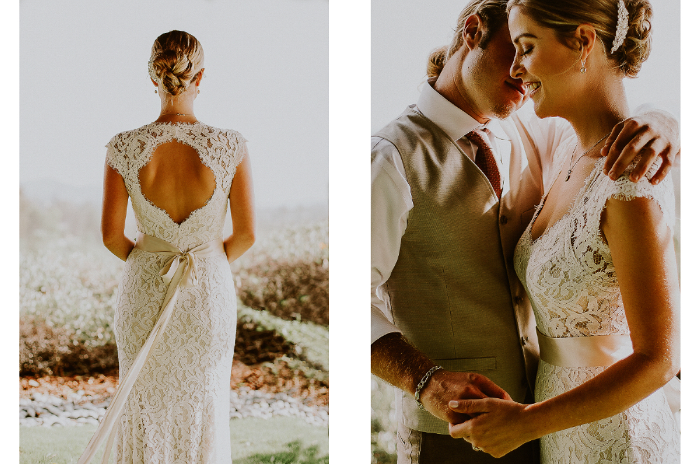 san diego wedding   photographer | collage of bride's back and bride and groom about to kiss