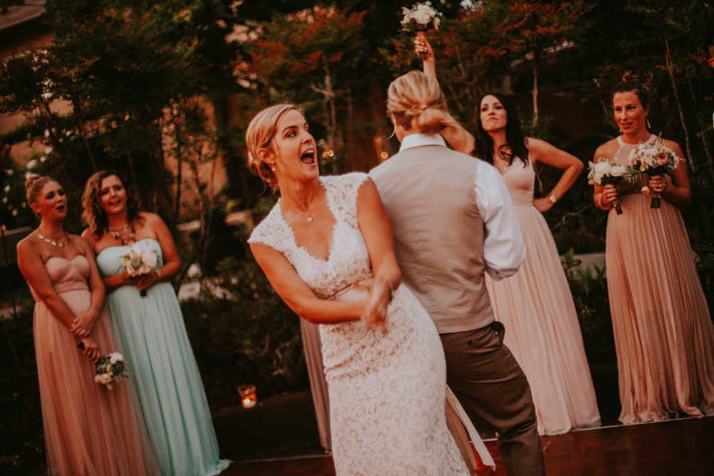 san diego wedding   photographer | bride and groom  back to   back dancing on dance floor