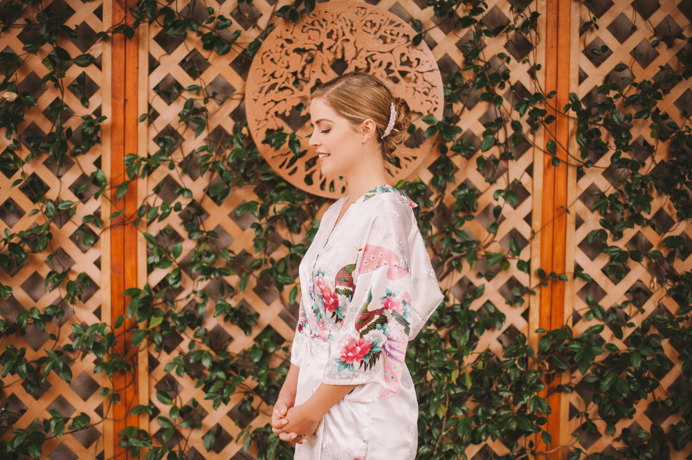 san diego wedding   photographer | woman in floral kimono standing with eyes closed