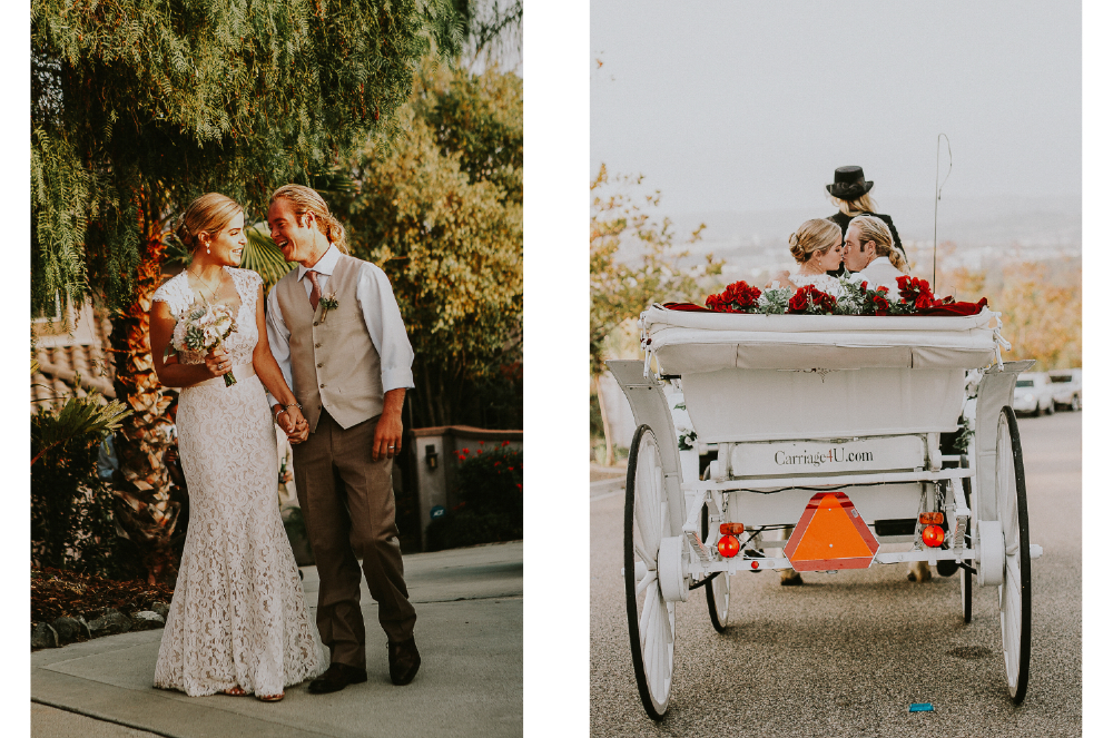 san diego wedding   photographer | collage of bride and groom with carriage