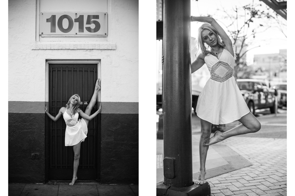 san diego wedding   photographer | monotone collage of blonde woman with  leg up on wall and on pole