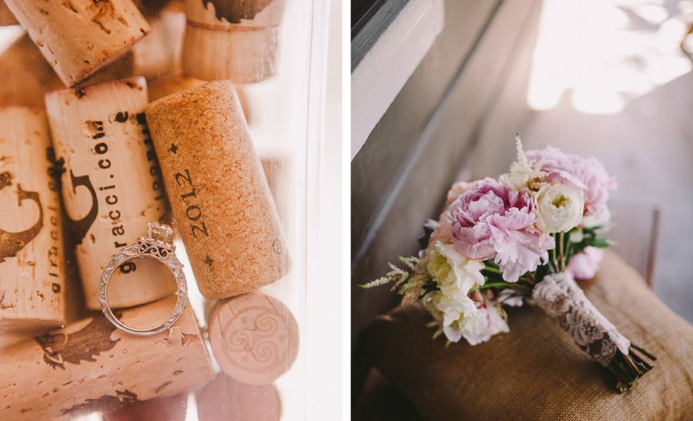 san diego wedding   photographer | collage of ring with pile of corks with bouquet of flowers