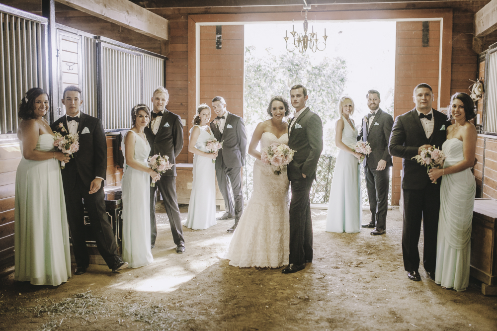 san diego wedding   photographer | pairs of groomsmen and bridesmaids in barn setting