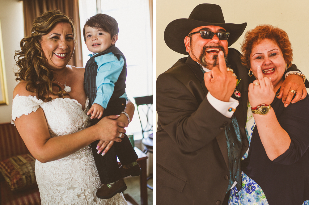 san diego wedding   photographer | collage of bride holding child with groom and woman