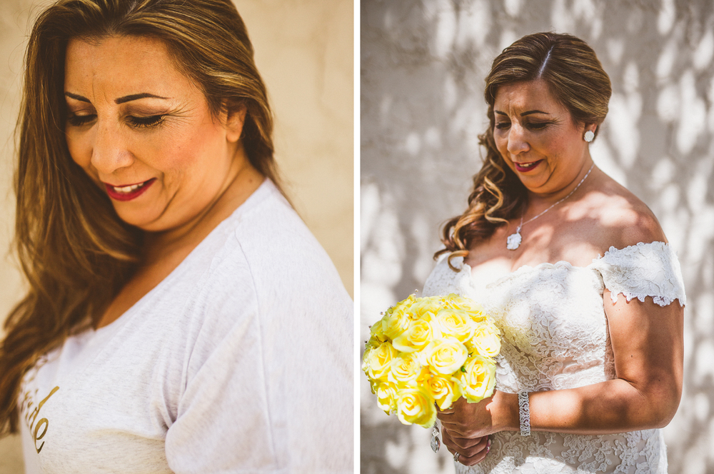 san diego wedding   photographer | collage of bride before and after wearing dress