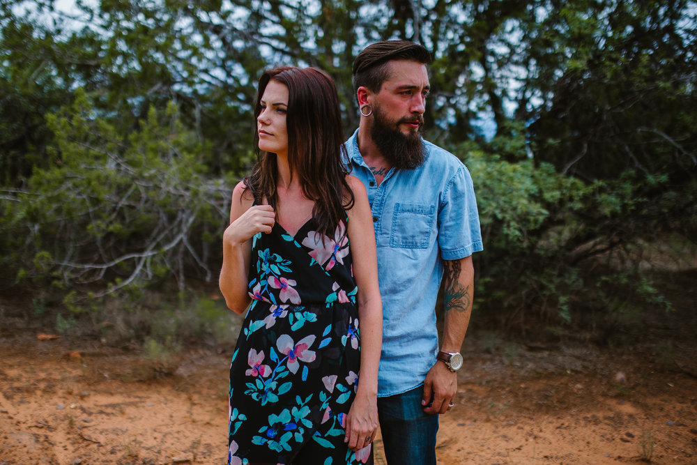 san diego wedding   photographer | man in blue standing behind woman in black floral dress