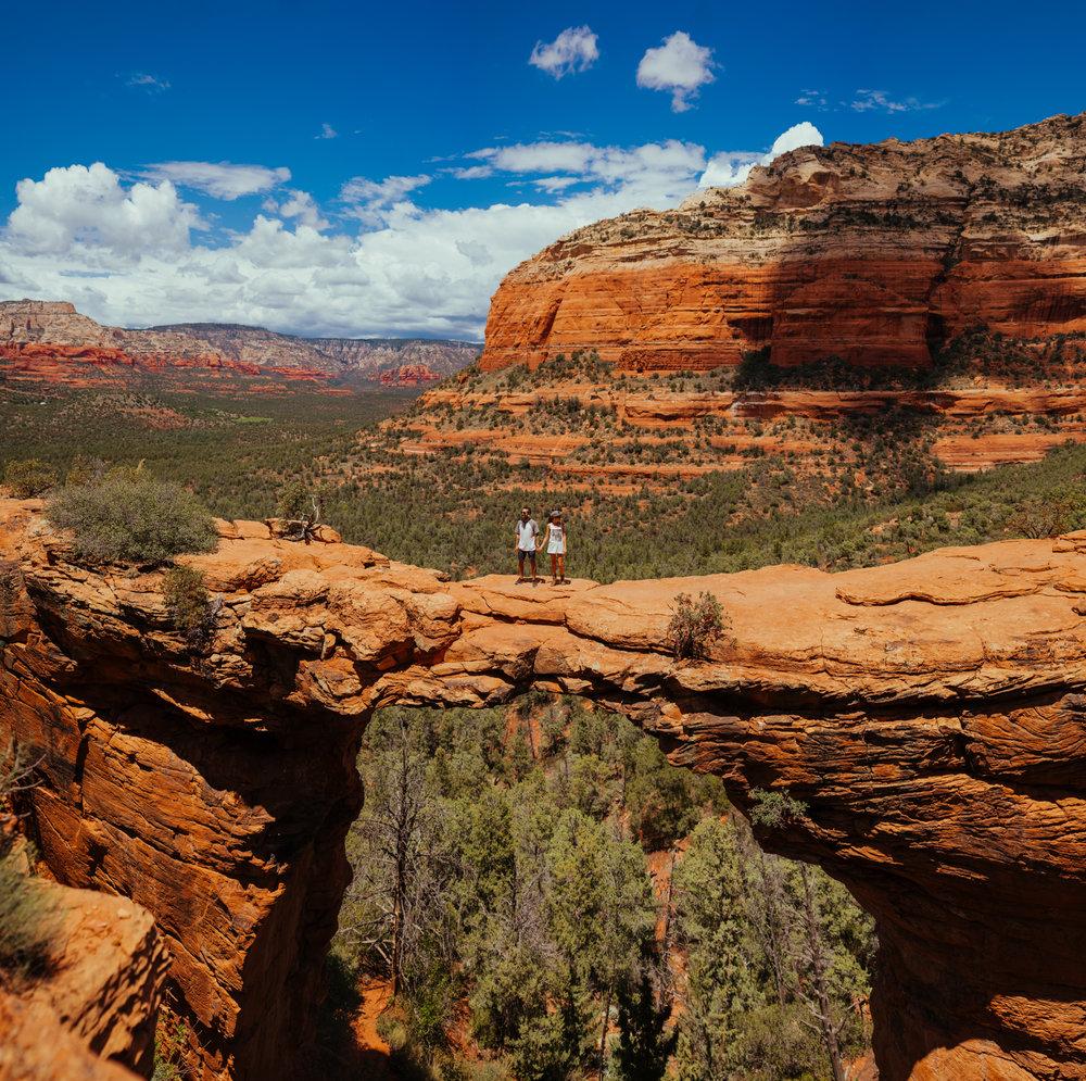 san diego wedding   photographer | far shot of man and woman on canyon ridge