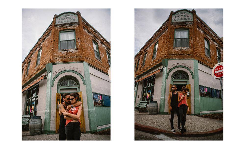 san diego wedding   photographer | man and woman posing by corner street