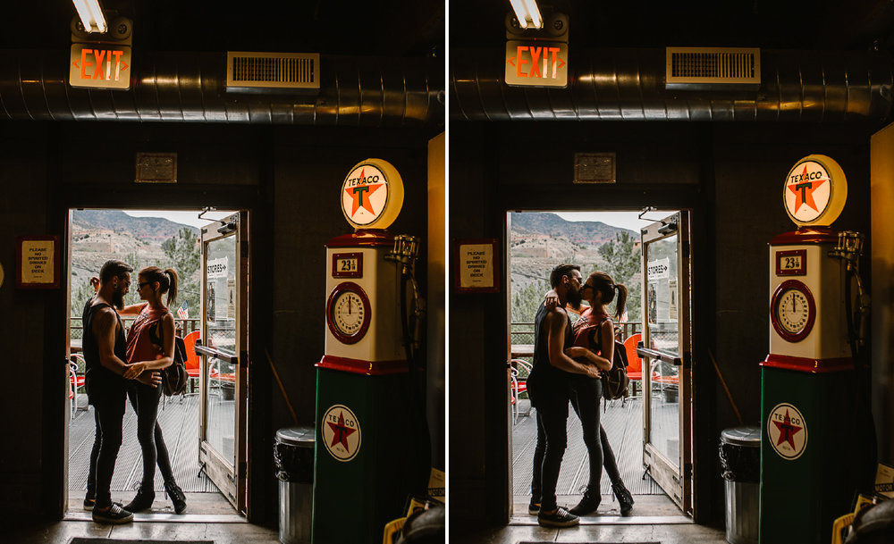 san diego wedding   photographer | collage of couple about to kiss in doorway of old timey store