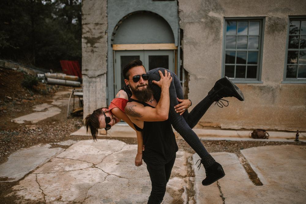 san diego wedding   photographer | bearded man in shades grabbing woman on his shoulder