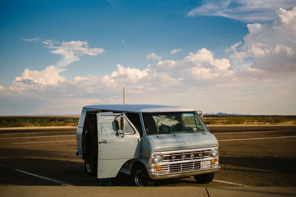 san diego wedding   photographer | van in middle of empty parking lot