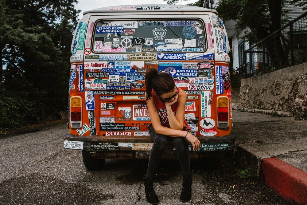 san diego wedding   photographer | woman sitting on back of van