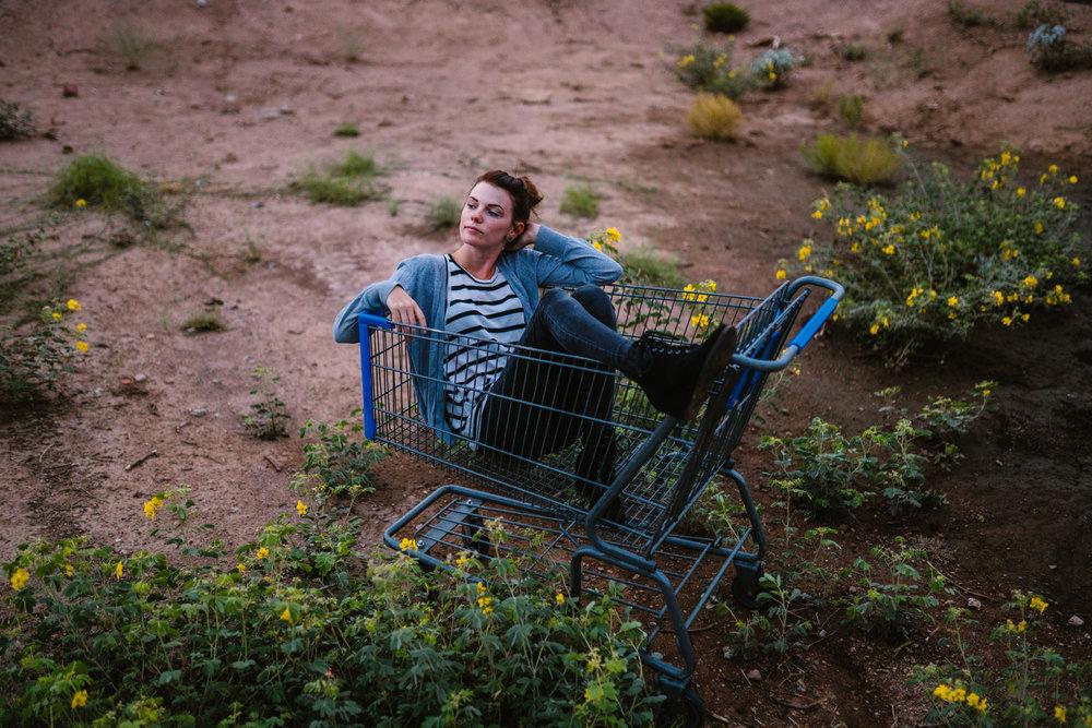 san diego wedding   photographer | woman sitting in blue shopping cart