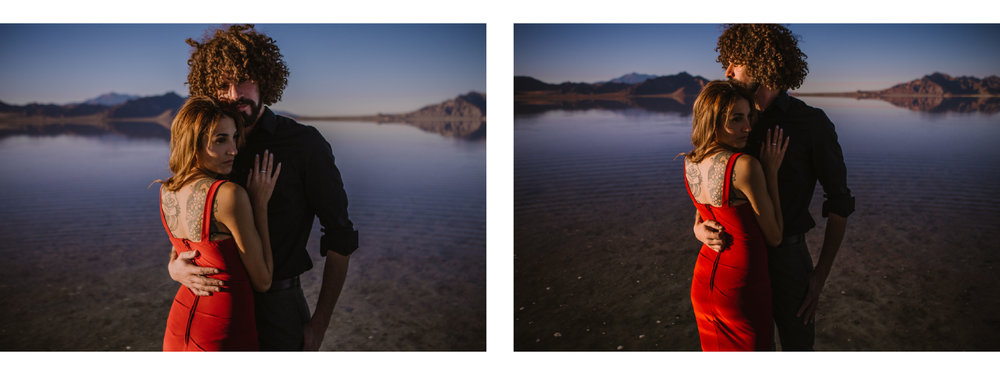 san diego wedding   photographer | collage of woman in red dress embracing man   in black polo while standing on salt flats