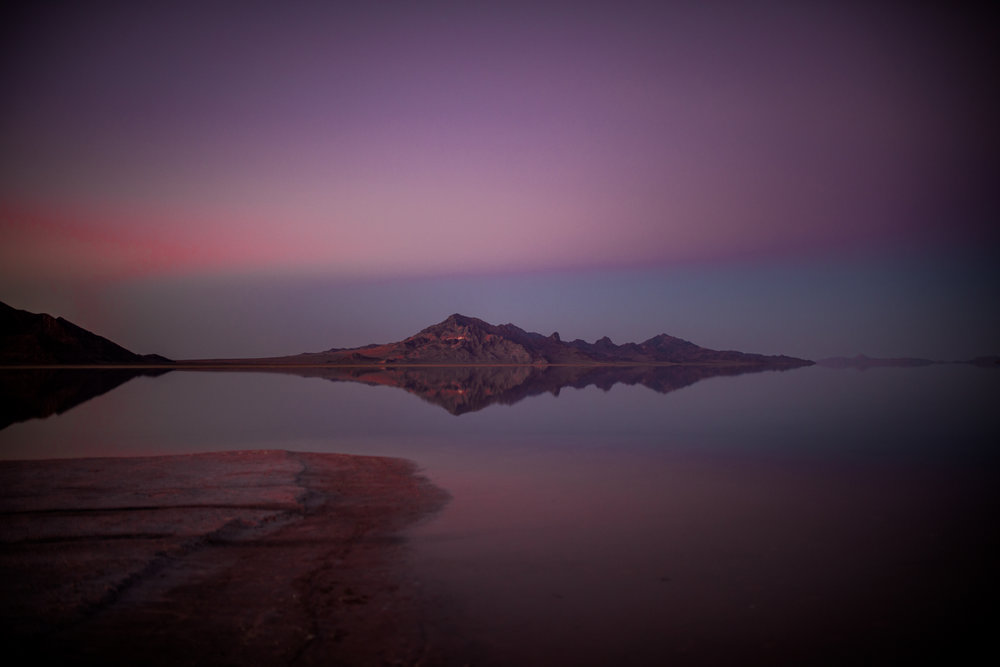 san diego wedding   photographer | bonneville salt flats and purple-blue sky with one mountain   range