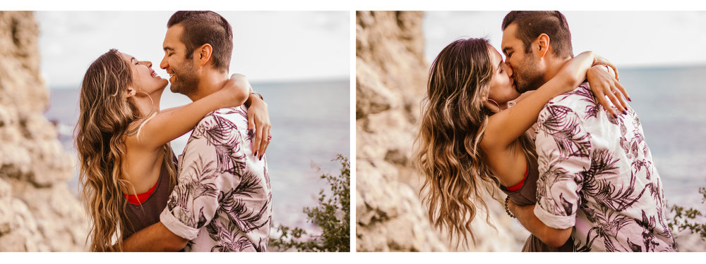 san diego wedding photographer | collage of man and woman kissing against rocky wall
