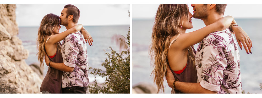 san diego wedding photographer | collage of woman with hands over man's shoulders against rocky wall