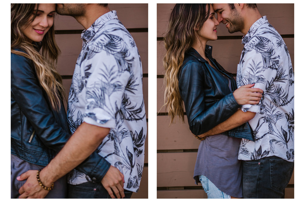 san   diego wedding photographer | collage in leather jacket holding man in front   of wooden wall