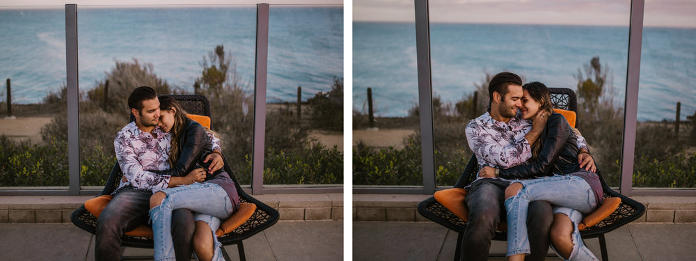 san   diego wedding photographer | collage of couple cuddling on wooden woven chair