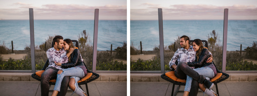 san   diego wedding photographer | collage of couple sitting on wooden woven chair