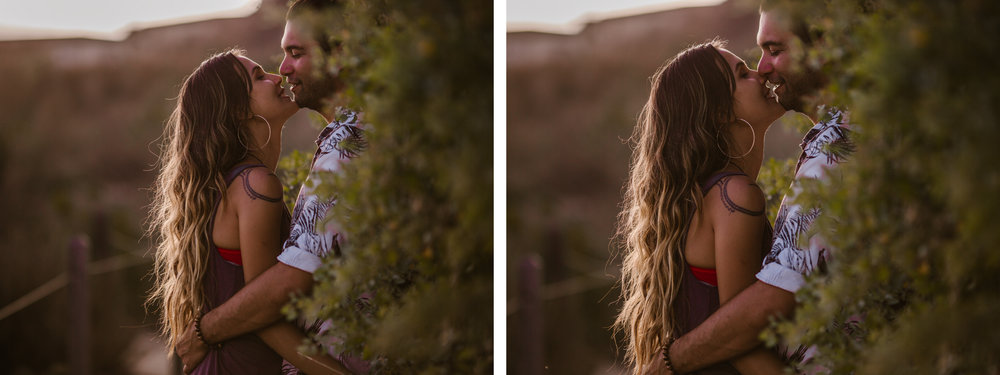 san   diego wedding photographer | collage of couple about to kiss with wall with   plants behind them