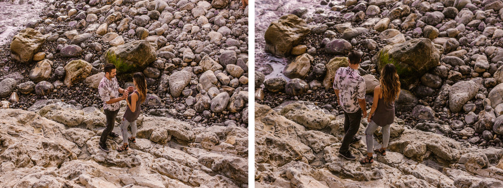 san   diego wedding photographer | collage of couple on rocky shore looking away   from camera