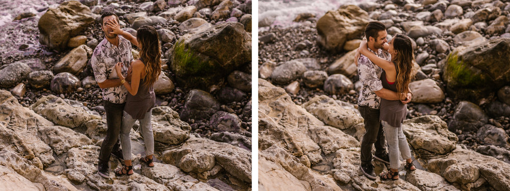 san   diego wedding photographer | collage of woman covering man's face on rockey   terrain
