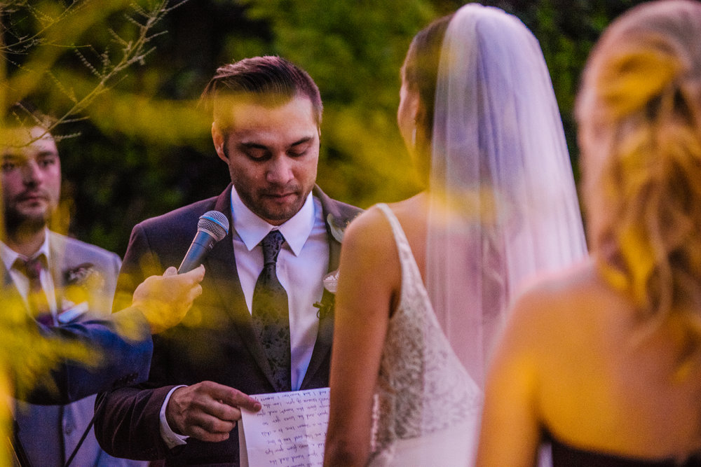 san diego wedding   photographer | groom opening letter in front of bride