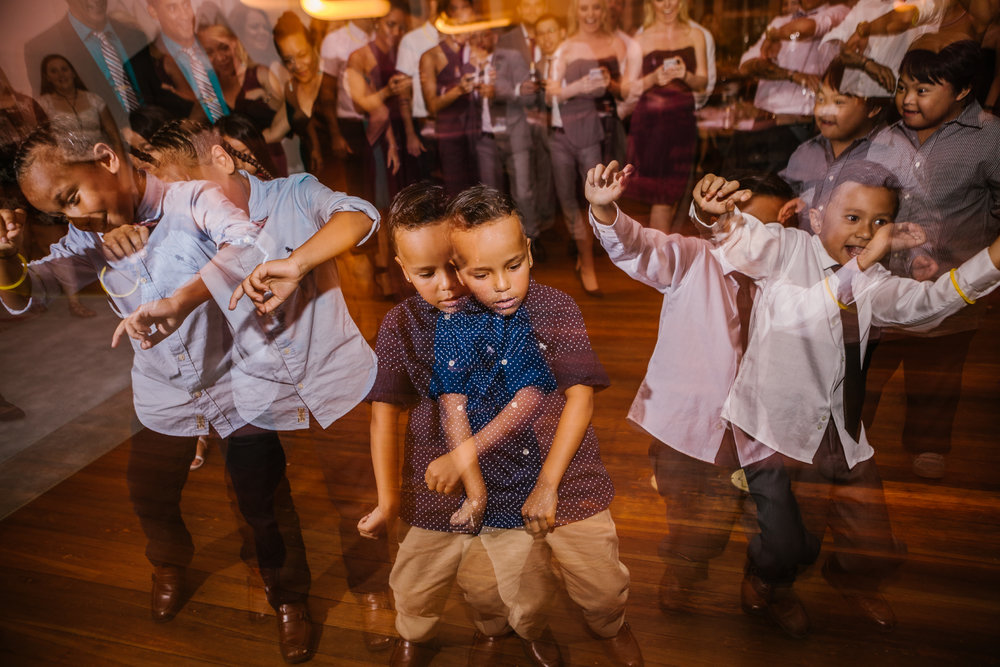 san diego wedding   photographer | long exposure shot of kids dancing on dance floor