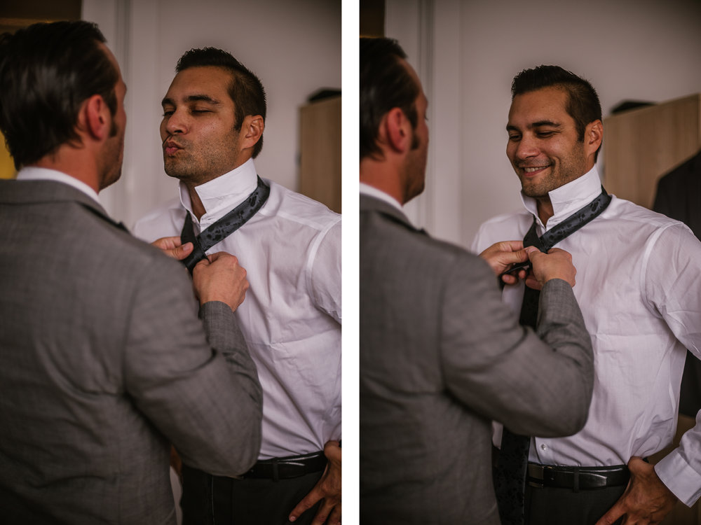 san diego wedding   photographer | groom to be being helped with his necktie