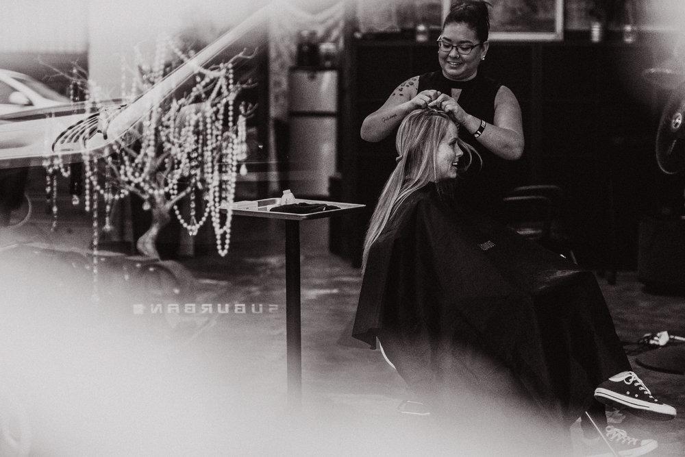 san diego wedding   photographer | woman in salon getting her hair done