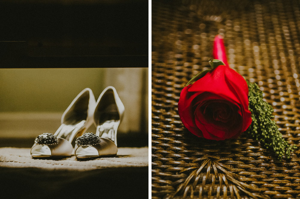 san diego wedding   photographer | collage of white shoes and red rose made with cloth