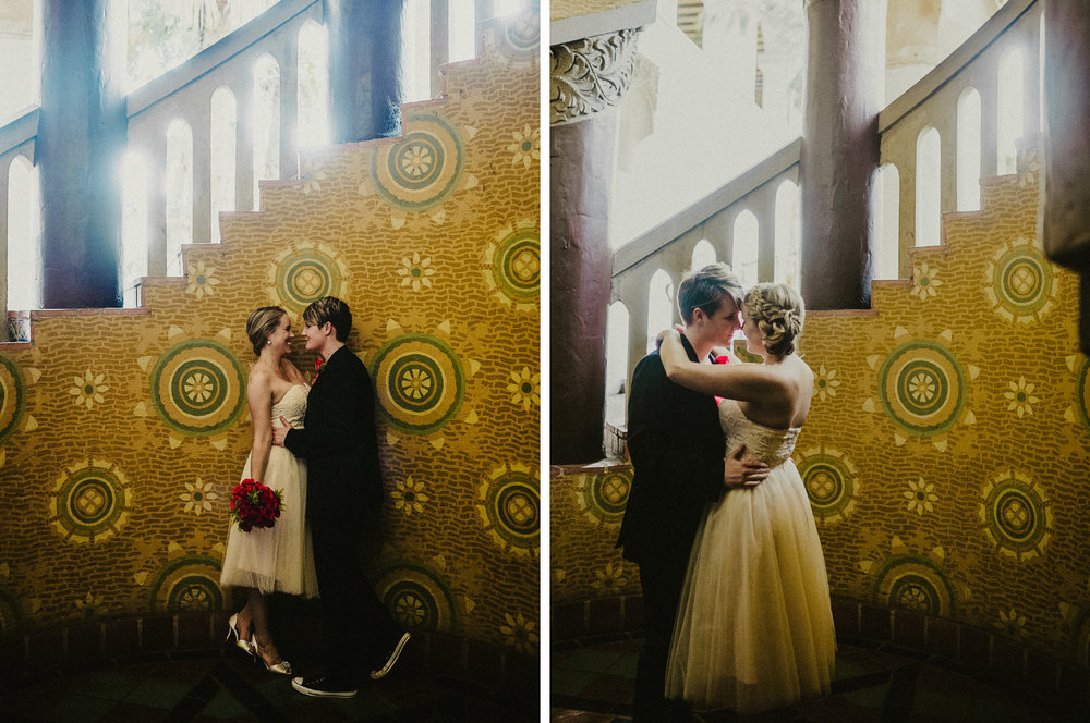 san diego wedding   photographer | collage of women about to kiss beside staircase